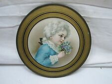 Antique Flue Cover Victorian Child Boy w/Wig Ornate Flowers Round Chimney Plate