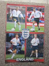 Early 2000's England Soccer Poster.  Beckham, Gerrard, Butt & Lampard