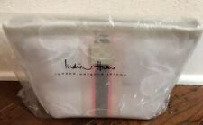 Brand New India Hicks Pink Sands Pouch Clear Stadium Leather Trimmed Clutch