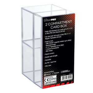 Ultra Pro 2 Compartment Storage Box For Trading Cards Toploaders Screwdowns