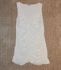 EXPRESS Ivory White ruffle rouched sleeveless blouse tank top (M)