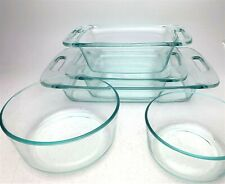 5 Vintage Pyrex Clear Light Blue Glass Baking Casserole Dishes & Mixing Bowls