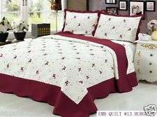 Quilt Queen Size 3 pc Embroidered Bed Set / Bedspread, Burgundy