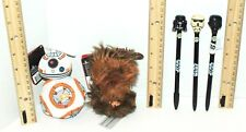 5 LOT STAR WARS CHEWBACCA STORMTROOPER BB-8 TALK TOY PLUSH FIGURE + WRITING PEN