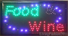 Flashing FOOD WINE groceries LED sign board new window Shop signs