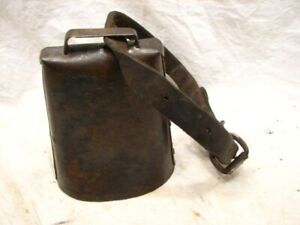 Primitive Large Animal Cow Bell Early Hand Made Farm Tool Leather Trap
