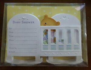 Partyexpress from Hallmark Baby Shower invitations, cute teddy bear in crib
