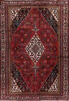 Traditional Hamadan Oriental Area Rug Hand-Knotted Medallion Wool Carpet 6 x 9