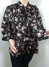 Pussy Bow Blouse Tie Neck Puff Sleeves Oversized Black Pink Florals Swing NEW