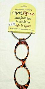 OptiSpex Magnifier Necklace Glasses Lanyard 2X Pink Purple Blue Floral BW Stripe