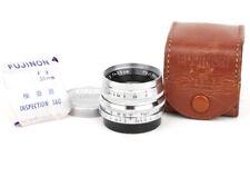 EX+ Fujinon 35mm f/2 LTM 3.5cm Leica L39 Screw Mount Silver Lens w/leather pouch