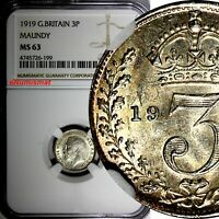 GREAT BRITAIN George V Silver 1919 3 Pence MAUNDY NGC MS63 KM# 813