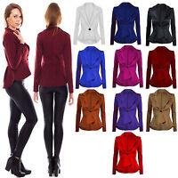 New Women's Ladies Slim Fit Crop Peplum Shift Frill Blazer Jacket Coat Size 8-26