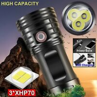 200000 Lumens 3*XHP70 LED Flashlight Torch USB Rechargeable Tactical Lamp Light