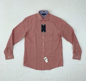 Tommy Hilfiger Button Shirt Slim Fit 16 Red Check Long Sleeve Dress Shirt