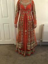 Orange Gold Dress 2in1 Lengha Sari Saree Mongas Kirans Bollywood Size 8 kyles