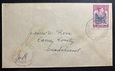 1944 British Solomon Islands Censored Cover To Guadalcanal