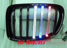 Front Kidney Grille Glossy Black W/M-TECH Style LED For BMW E84 X1 5DR SUV 09-14