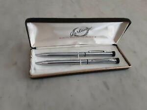 Vtg Garland Chrome Bubble Pen & Pencil Set