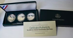 "1994 U.S. Veterans Com. Silver Three-Coin Set ""UNC *Free S/H After 1st Item*"