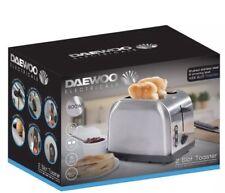 Daewoo Stainless Steel 2 Slice Slot Toaster 900W Kitchen Defrost Non Slip Feet