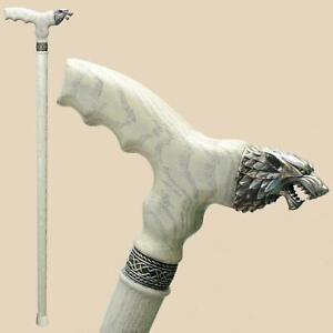 Direwolf - Fancy Wood Cane - Wolf Walking Stick Canes for Men Women Fashionable