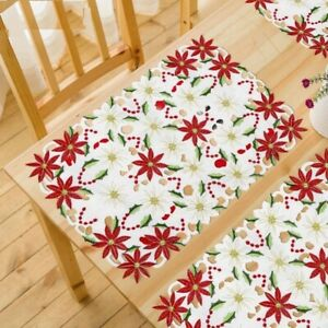 Christmas Table Poinsettia Embroidered Placemats Home Decorations 11x17 Inch
