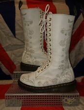 Rare*White Rose Etched Calf High Dr Doc Martens*Wedding Skingirl Punk Goth*4