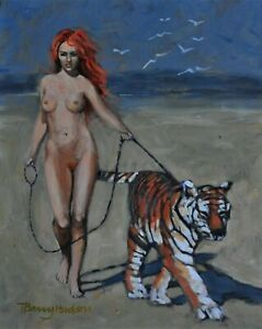Nude girl with tiger ENSURING SOCIAL DISTANCING signed Barry Hudson original