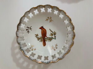 Vintage Japan Fine China Footed Bowl Trinket Bird Cardinal & Flower Gilt 10cm