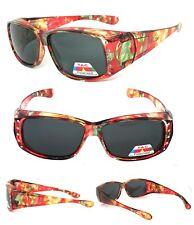 Womens Rhinestones FIT OVER Sunglasses Cover Rx Glasses Polarized Orange Floral