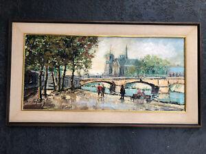 Mid Century Vintage Paris France Impressionist Oil Painting Signed