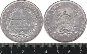 Uruguay: 1893 1 Peso silver, rounded top 3