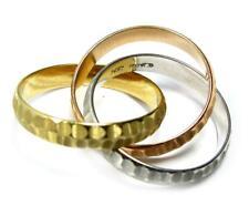 Yellow White Rose Gold 7.2 g Women's Triple Three Linked Wedding Bands 14K