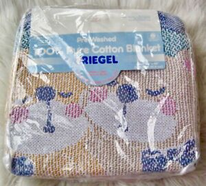 NOS Teddy Bear Tapestry Blanket Baby Love Vintage Fringed Cotton Gingham Riegel