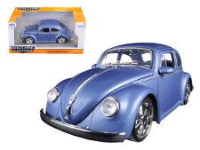 1959 VW Volkswagen Beetle Bug Baby Moon Rims Satin Matt Blue 1/24 By Jada 97420