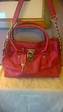 MICHAEL KORS M DeepRed Ostrich Look Leather Handles GoldChain Strap GrabTote Bag
