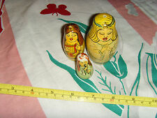 lot of 3 dolls angels girls boxes nesting dolls sweet partial set wooden cute