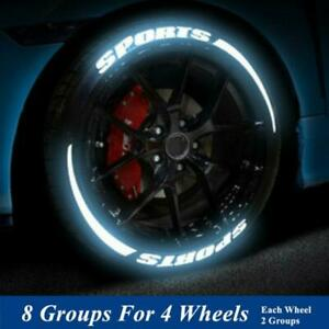 8 Groups Sports Blade Night Reflective Permanent Lettering Wheel Tire Stickers