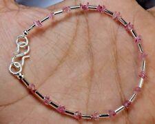 "N-1960 Tourmaline Natural Gemstone Uncut Chips Loose Beads 10ct 7"" Bracelet $"