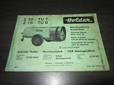 Holder Betriebsanleitung ET Liste Zapfwellen Anhänger Spritze Z10 TU7 Z15 TU8!
