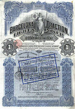 Canada 1914 Barcelona Traction Light Power Gold $100 Deco coupons Uncancelled
