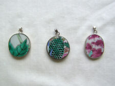 Lot 3 Assorted Green Pink White Chinese Porcelain Pendant Beads Jewelry Making