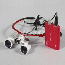 Chirurgie dentaire loupes binoculaires Magnifier Glasses + LED phare lampe Red