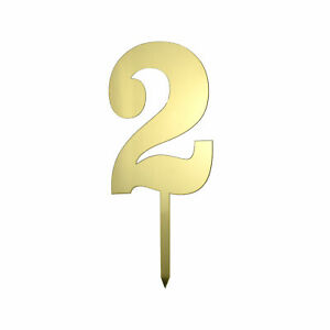 Metallic Acrylic Number 2 Cake Topper, Gold, 7-1/2-Inch