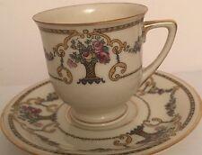 Vintage Heinrich Selb Bavaria Porcelain Demitasse Cup Saucer China Gold Flowers