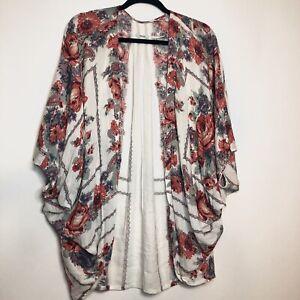 Kimchi Blue Kimono UO Urban Outfitters Multi Floral Open Cardigan Medium / Large