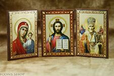 Triptych Orthodox Church Icon Wonderworker St Nicholas Holly Marry Jesus Chris