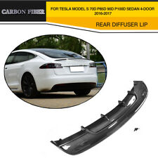 Carbon Fiber Rear Diffuser Bumper Fit For Tesla Model S 70D P85D Sedan 4-D 16-17