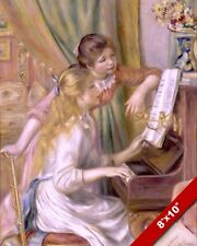 YOUNG GIRLS SISTERS SINGING PLAYING PIANO MUSIC PAINTING CHILD ART CANVAS PRINT